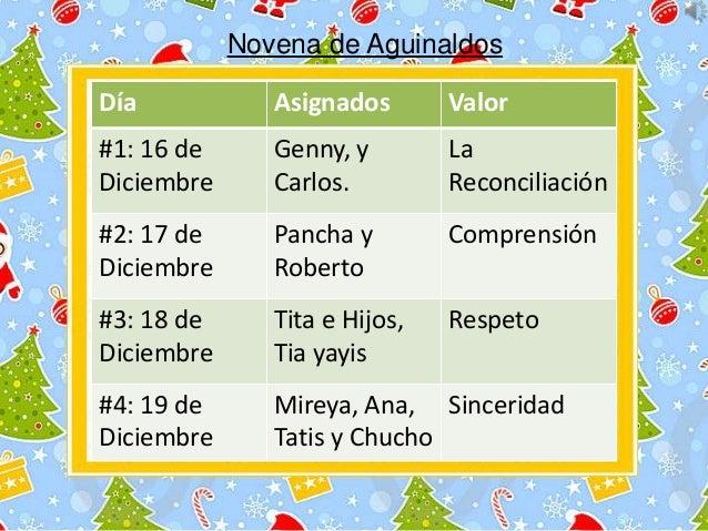 Novena de Aguinaldos Día  Asignados  Valor  #1: 16 de Diciembre  Genny, y Carlos.  La Reconciliación  #2: 17 de Diciembre ...