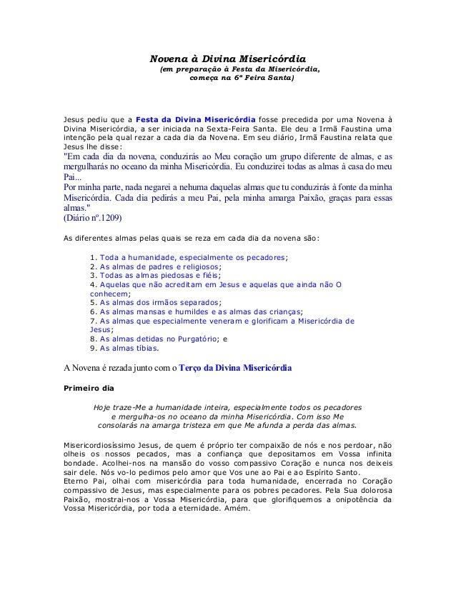 Novena à Divina Misericórdia                         (em preparação à Festa da Misericórdia,                              ...