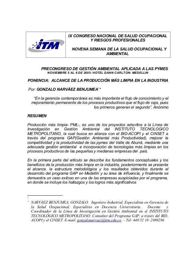IX CONGRESO NACIONAL DE SALUD OCUPACIONAL Y RIESGOS PROFESIONALES NOVENA SEMANA DE LA SALUD OCUPACIONAL Y AMBIENTAL PRECON...