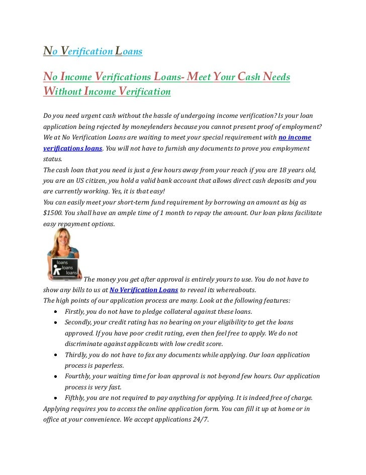 No Income Verifications Loans- Meet Your Cash Needs Without Income Ve…