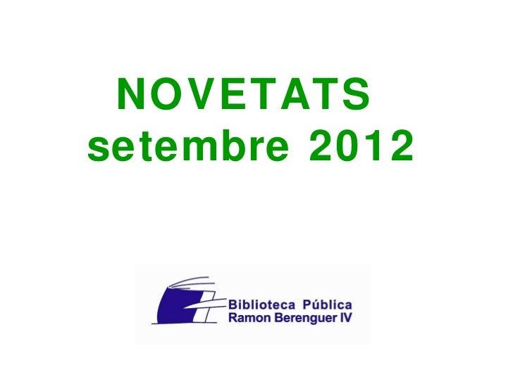 NOVETATSsetembre 2012