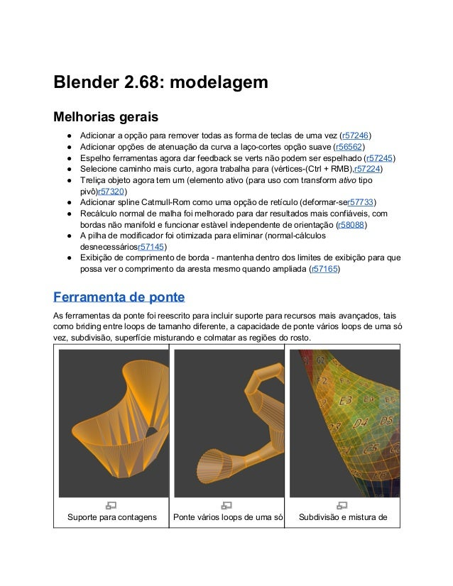 Blender2.68:modelagem Melhoriasgerais ● Adicionaraopçãopararemovertodasasformadeteclasdeumavez(r57246) ● A...
