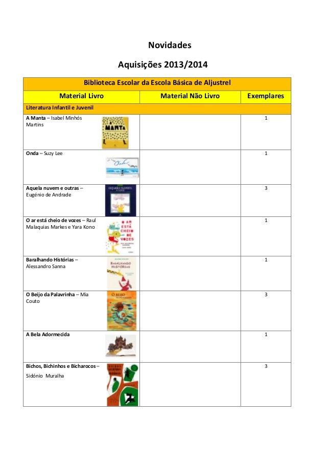 Novidades Aquisições 2013/2014 Biblioteca Escolar da Escola Básica de Aljustrel Material Livro  Material Não Livro  Exempl...