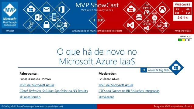 WEBCASTS  15  set  2 0 1 4  IT Azure & Big Data  MVP ShowCast  Virtual Community Series  a  09  out  #mvpbr Organizado por...