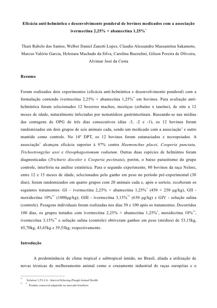 Eficácia anti-helmíntica e desenvolvimento ponderal de bovinos medicados com a associação                                 ...