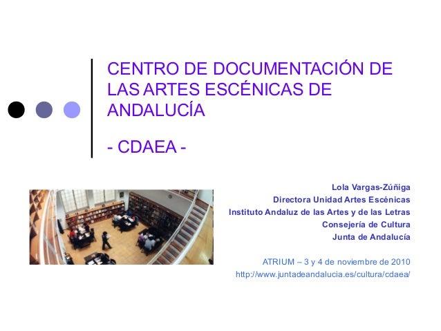 CENTRO DE DOCUMENTACIÓN DE LAS ARTES ESCÉNICAS DE ANDALUCÍA - CDAEA - Lola Vargas-Zúñiga Directora Unidad Artes Escénicas ...