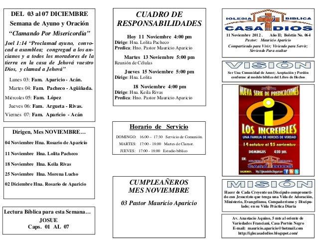 """DEL 03 al 07 DICIEMBRE                     CUADRO DE  Semana de Ayuno y Oración              RESPONSABILIDADES """"Clamando P..."""