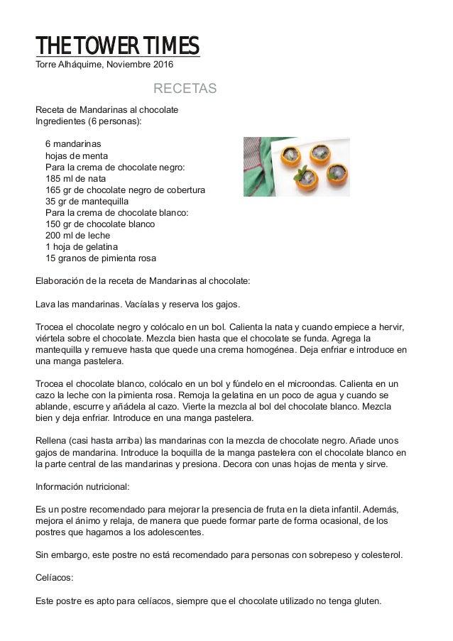 RECETAS Receta de Mandarinas al chocolate Ingredientes (6 personas): 6 mandarinas hojas de menta Para la crema de chocolat...