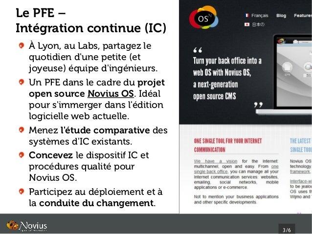 Le PFE –Intégration continue (IC)  À Lyon, au Labs, partagez le  quotidien dune petite (et  joyeuse) équipe dingénieurs.  ...