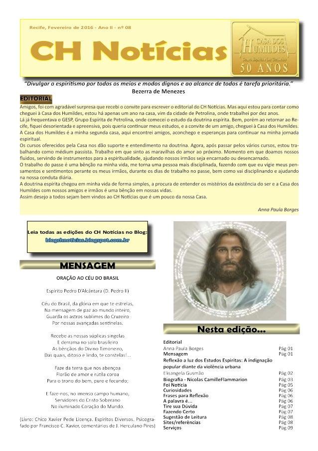 Recife, Fevereiro de 2016 - Ano II - nº 08 CH Notícias Recife, Fevereiro de 2016 - Ano II - nº 08 CH Notícias Leia todas a...
