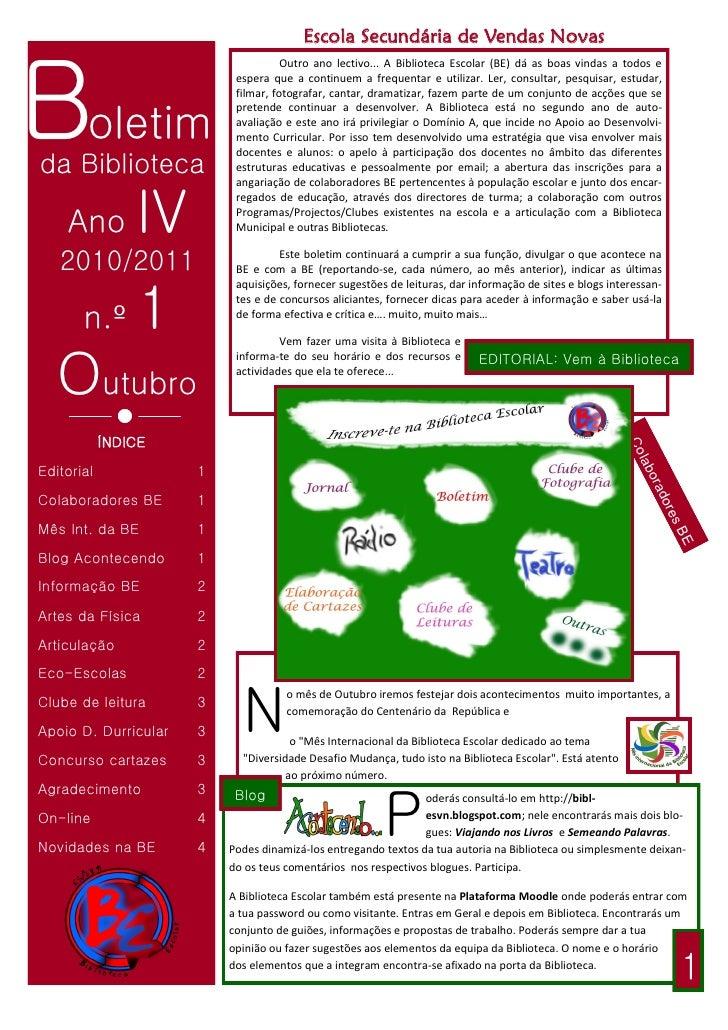 Escola Secundária de Vendas Novas    Boletim                                      Outro ano lectivo... A Biblioteca Escola...