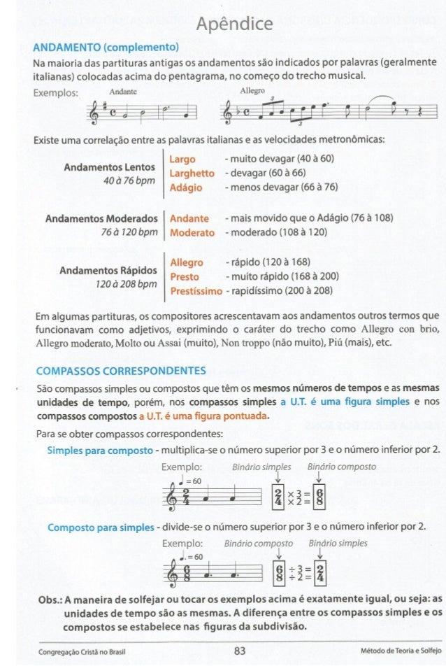 Apéndice ANDAMENTO (complemento)  Na maioria das partituras antigas os andamentos sao indicados por palavras (geralmente i...
