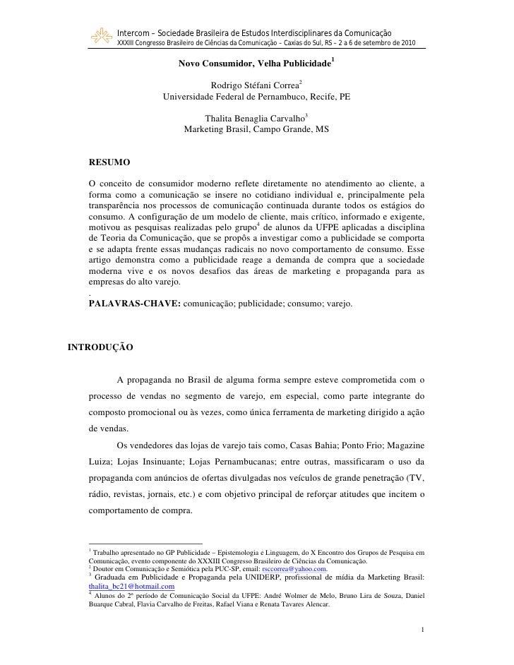 Intercom – Sociedade Brasileira de Estudos Interdisciplinares da Comunicação             XXXIII Congresso Brasileiro de Ci...