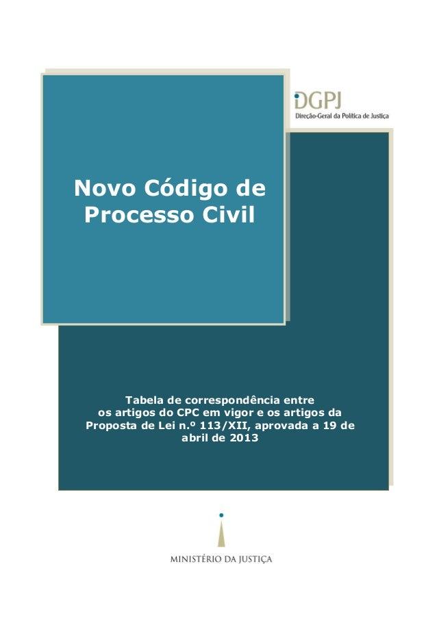 Código do Processo Civil Tabela de correspondência entre os artigos do CPC em vigor e os artigos da Proposta de Lei n.º 11...