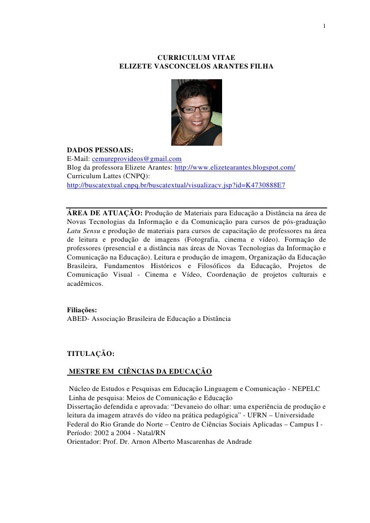 Curriculum Profª Elizete Arantes