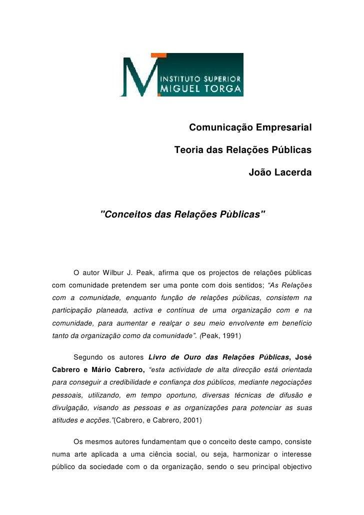 """Comunicação Empresarial <br />Teoria das Relações Públicas<br />João Lacerda<br />""""Conceitos das Relações Pùblicas""""<br />O..."""