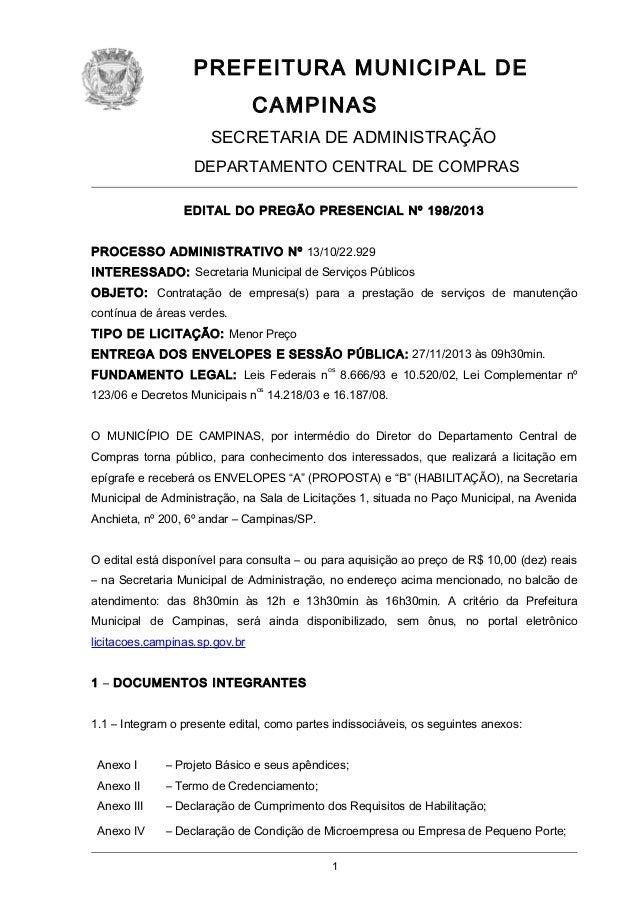 PREFEITURA MUNICIPAL DE CAMPINAS SECRETARIA DE ADMINISTRAÇÃO DEPARTAMENTO CENTRAL DE COMPRAS EDITAL DO PREGÃO PRESENCIAL N...