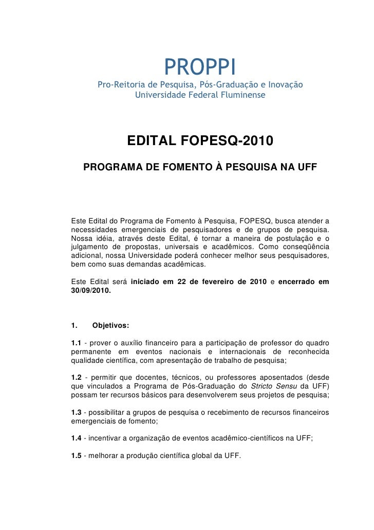 PROPPI        Pro-Reitoria de Pesquisa, Pós-Graduação e Inovação                 Universidade Federal Fluminense          ...