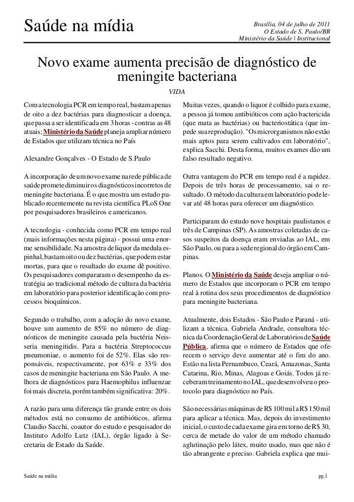 Saúde na mídia                                                                     Brasília, 04 de julho de 2011          ...
