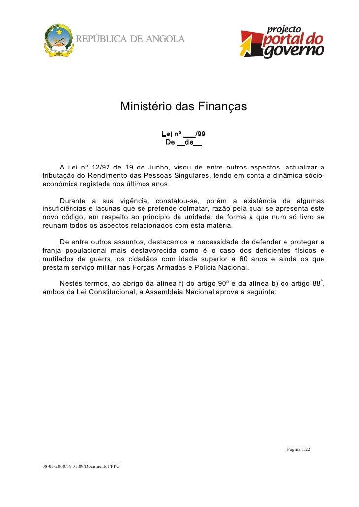 MinistériodasFinanças                                         Leinº___/99                                          D...