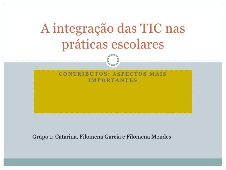 Contributos: aspectos mais importantes<br />A integração das TIC nas práticas escolares<br />Grupo 1: Catarina, Filomena G...