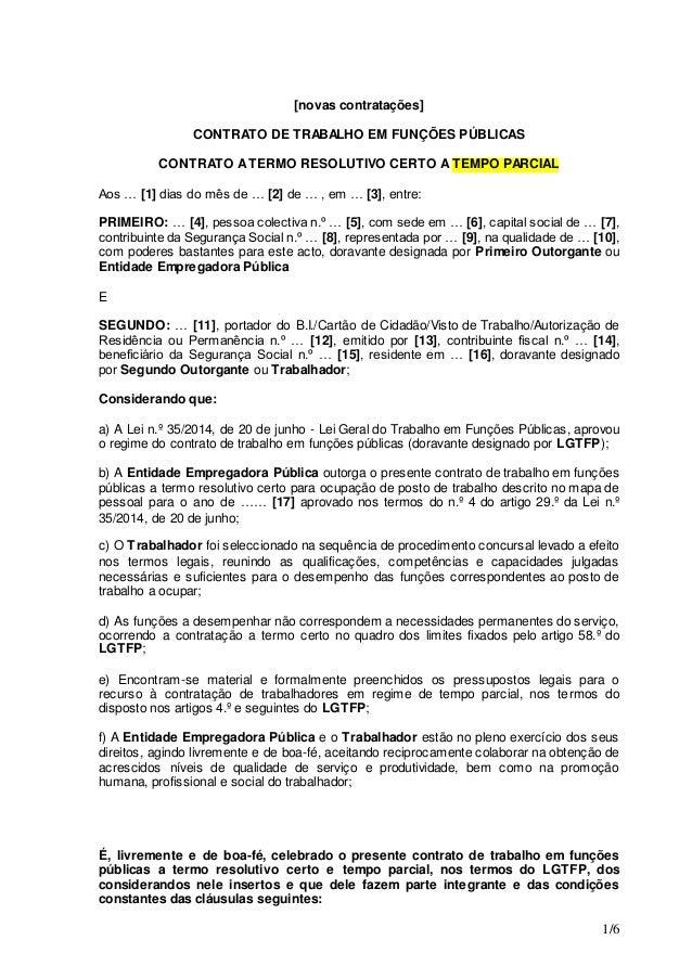 Novo modelo contrato termo certo tempo parcial for Modelo de contrato de trabajo de empleada domestica