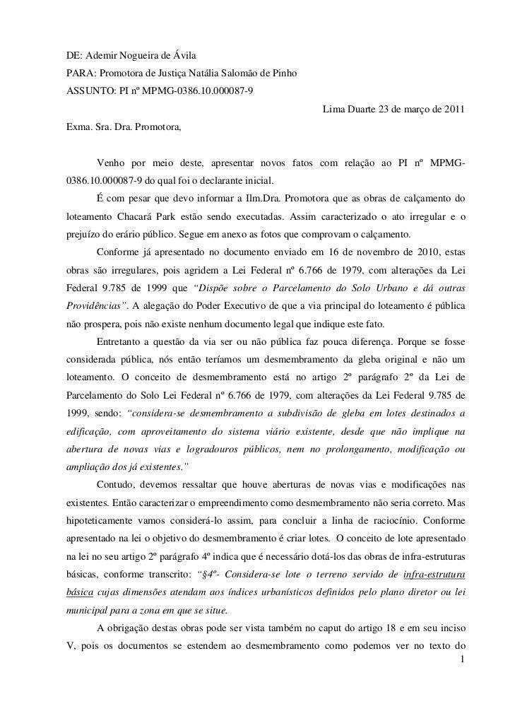 DE: Ademir Nogueira de ÁvilaPARA: Promotora de Justiça Natália Salomão de PinhoASSUNTO: PI nº MPMG-0386.10.000087-9       ...