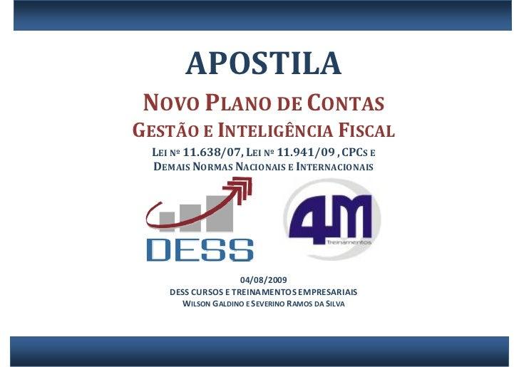 APOSTILA                    NOVOPLANODECONTAS     GESTÃOEINTELIGÊNCIAFISCAL                                    ...