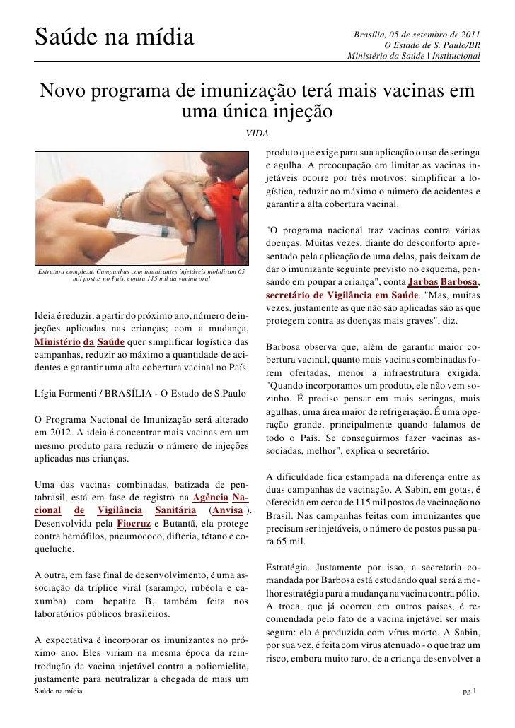 Saúde na mídia                                                                                   Brasília, 05 de setembro ...