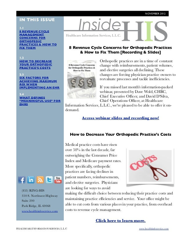 NOVEMBER 2012                                              Inside  IN THIS ISSUE  1.1  8 REVENUE CYCLE  MANAGEMENT  CONCER...