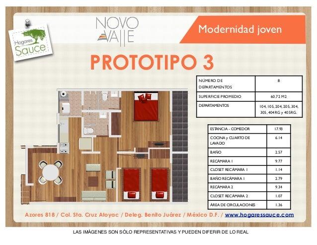 Modernidad joven  PROTOTIPO 3 NÚMERO DE  8  DEPARTAMENTOS SUPERFICIE PROMEDIO DEPARTAMENTOS  60.72 M2 104, 105, 204, 205, ...
