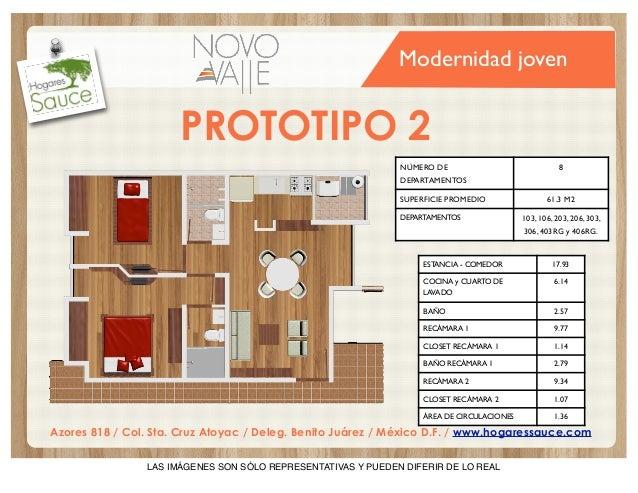 Modernidad joven  PROTOTIPO 2 NÚMERO DE  8  DEPARTAMENTOS SUPERFICIE PROMEDIO DEPARTAMENTOS  61.3 M2 103, 106, 203, 206, 3...