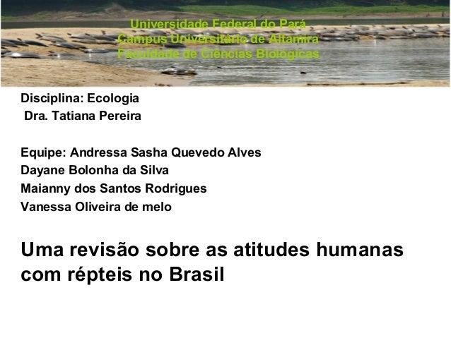Universidade Federal do Pará Campus Universitário de Altamira Faculdade de Ciências Biológicas Disciplina: Ecologia Dra. T...