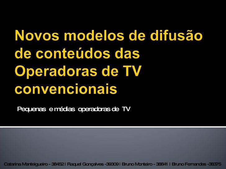 Pequenas  e médias  operadoras de  TV Catarina Manteigueiro - 38452 | Raquel Gonçalves -39309 | Bruno Monteiro - 38841 | B...