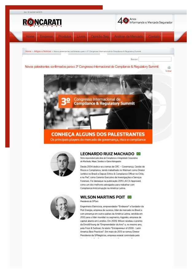 02/04/2015 EditoraRoncaratiNovospalestrantesconfirmadosparao3ºCongressoInternacionaldeCompliance&Regulatory...