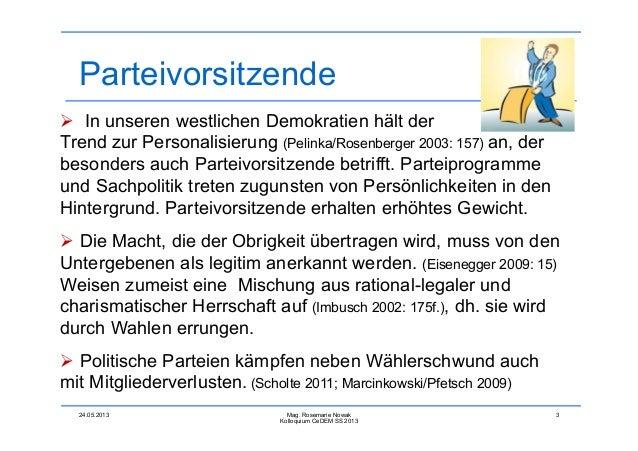 Rosemarie Nowak : Die Bedeutung von Vorsitzenden in der Internen Kommunikation innerhalb Mitglieder-Parteien im deutschen Sprachraum Slide 3