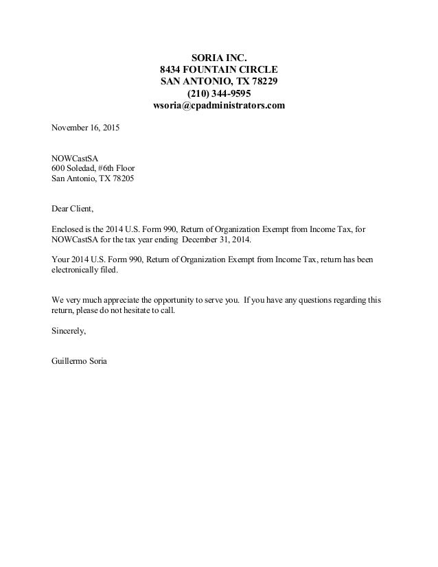 SORIA INC. 8434 FOUNTAIN CIRCLE SAN ANTONIO, TX 78229 (210) 344-9595 wsoria@cpadministrators.com November 16, 2015 NOWCast...