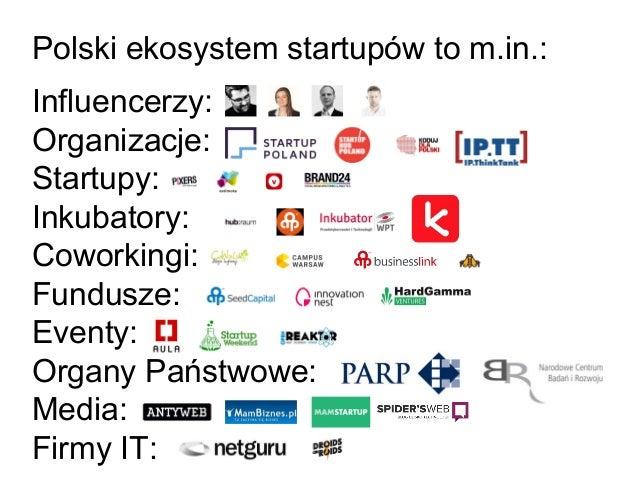 Polski ekosystem startupów to m.in.: Influencerzy: Organizacje: Startupy: Inkubatory: Coworkingi: Fundusze: Eventy: Organy...