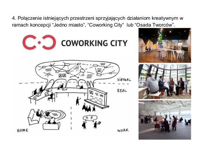 """4. Połączenie istniejących przestrzeni sprzyjających działaniom kreatywnym w ramach koncepcji """"Jedno miasto"""", """"Coworking C..."""