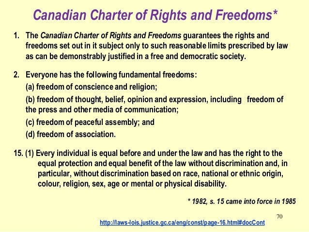 a comparison of bill of rights in united states and charter of rights and freedoms in canada Multiculturalism and language rights in canada:  of which the canadian charter of rights and freedoms  the united states bill of rights: a comparison,.