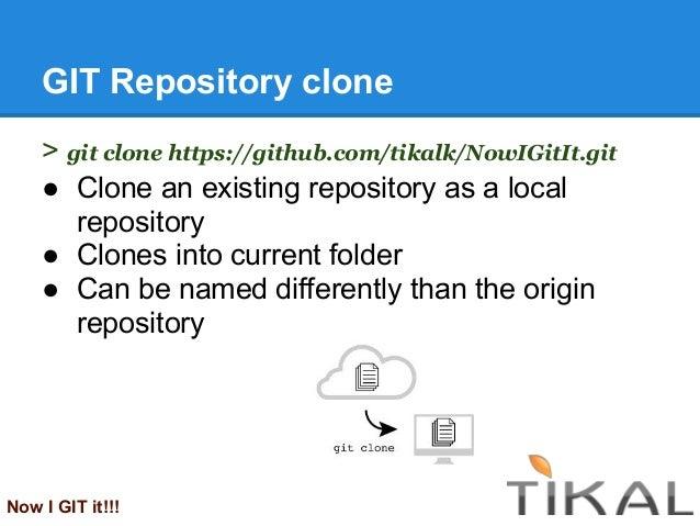 GIT Repository clone> git clone https://github.com/tikalk/NowIGitIt.git● Clone an existing repository as a localrepository...