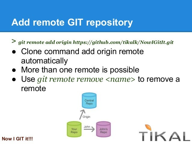 Add remote GIT repository> git remote add origin https://github.com/tikalk/NowIGitIt.git● Clone command add origin remotea...