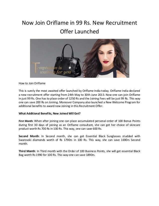 Now Join Oriflame in 99 Rs. New RecruitmentOffer LaunchedHow to Join OriflameThis is surely the most awaited offer launche...