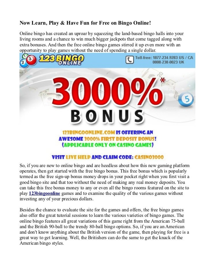free online bingo games for fun no registration
