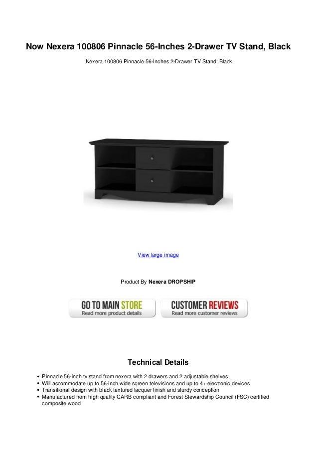 Now Nexera 100806 Pinnacle 56 Inches 2 Drawer Tv Stand Black
