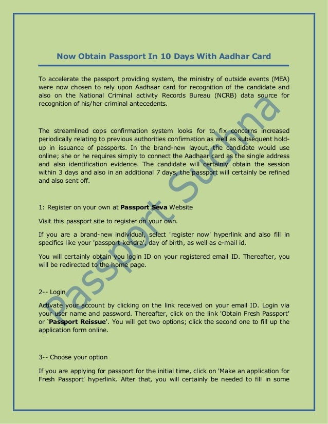 Now Obtain Passport In 10 Days With Aadhar Card