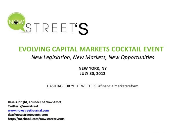 'S      EVOLVING CAPITAL MARKETS COCKTAIL EVENT              New Legislation, New Markets, New Opportunities              ...
