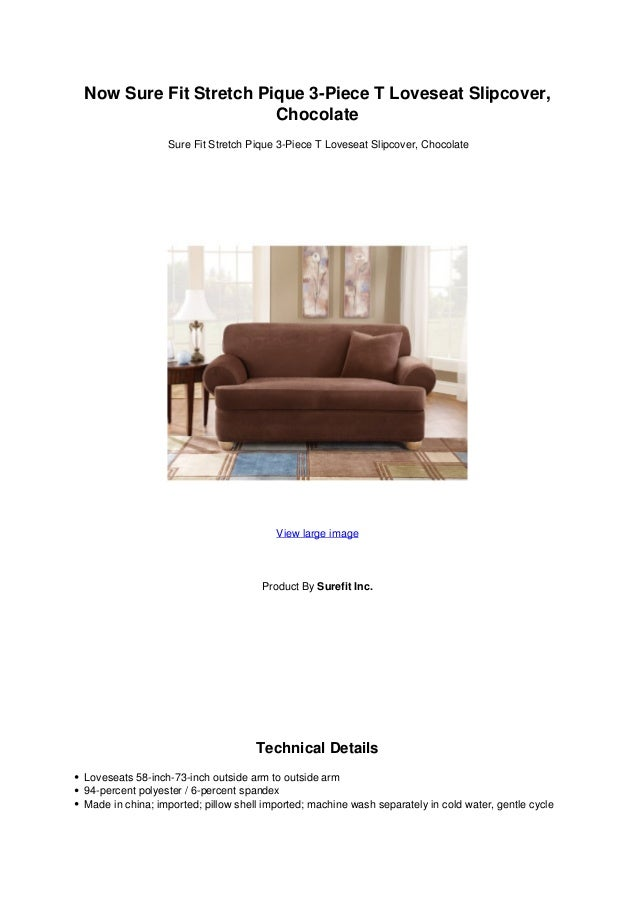 Now Sure Fit Stretch Pique 3 Piece T Loveseat Slipcover Chocolate