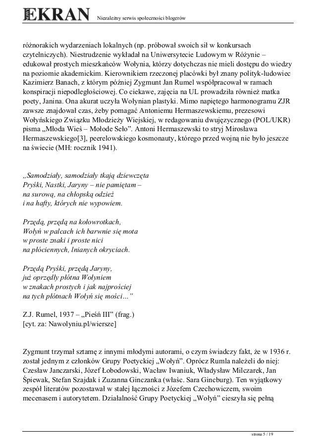 Zj Rumel Poeta Komendant Okręgu Wołyń Bch Ofiara Upa