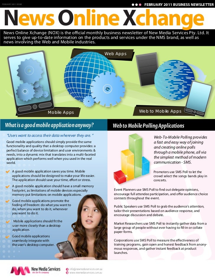 FEBRUARY 2011 BUSINESS NEWSLETTERNews Online XchangeFEBUARY 2011 ISSUE News Online Xchange (NOX) is the o cial monthly bus...